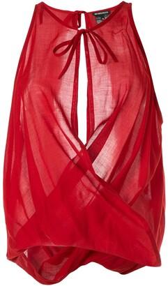 Ann Demeulemeester draped voile blouse