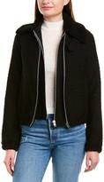 Helmut Lang Tweed Leather -Trim Wool-Blend Bomber Jacket