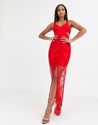ASOS DESIGN lace sheer hem cut out maxi dress in red
