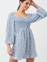 boohoo Smock Blue Floral Mini Dress - Blue