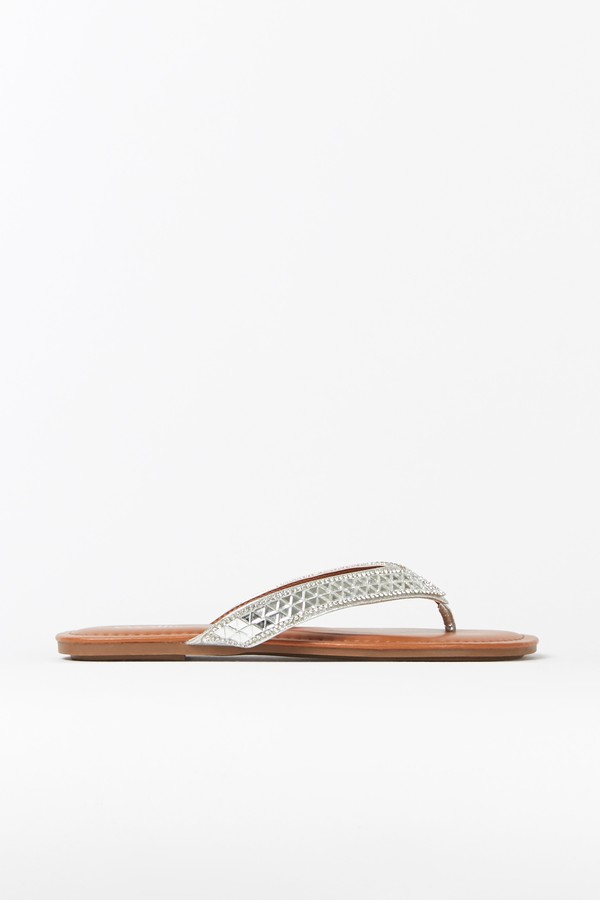 Wallis Silver Embellished Flat Sandal