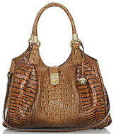 Brahmin Toasted Almond Collection Elisa Crocodile-Embossed Hobo Bag