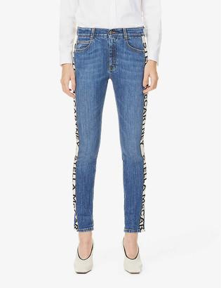 Stella McCartney Logo-tape slim mid-rise jeans