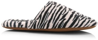Minnie Rose Zebra Print Cashmere Slippers