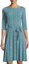 Neiman Marcus Ilana Floral-Print A-Line Dress, Blue Pattern