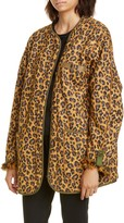 R 13 Faux Fur Lined Leopard Print Military Liner Jacket