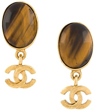 Chanel Pre Owned 1995 oval stone CC earrings
