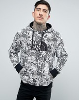 The North Face Drew Peak Hoodie Large Logo in White Stickerbomb Print