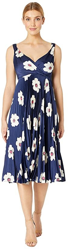 Maggy London Flat Flower Printed Charmeuse Fit and Flare