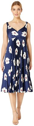 Maggy London Flat Flower Printed Charmeuse Fit and Flare (Navy/Ivory) Women's Dress
