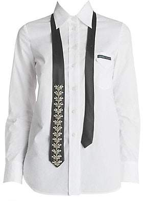 Prada Women's Embellished Tie Poplin Collared Shirt