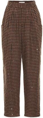 Alessandra Rich Vichy sequinned tweed pants