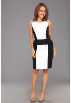 Tahari by Arthur S. Levine Tahari by ASL - S/L Colorblock Peplum Dress (Navy/White) - Apparel