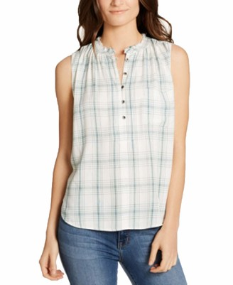 William Rast Women's Willliam Anaya Sleeveless Button Down Woven Tops