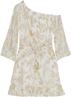 Rachel Zoe Flora One-shoulder Metallic Fil Coupe Silk-blend Mini Dress