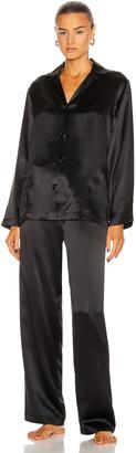 La Perla Silk Long Pajamas in Black | FWRD