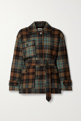 Co Belted Checked Wool-blend Twill Coat - Brown