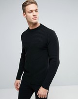 Sisley Crew Neck Knitted Sweater with Block Panel Detail
