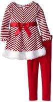 Bonnie Jean Little Girls' Mrs Claus Santa Christmas Dress & Leggings (X23717)