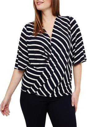 Studio 8 Willa Wrap Stripe Top, Navy/White