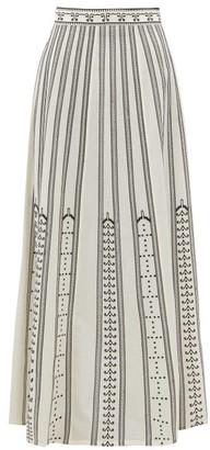 Le Sirenuse Le Sirenuse, Positano - Camille Greek Mask-embroidered Cotton Maxi Skirt - Womens - Cream