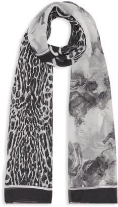 Burberry Angel & Leopard Print Silk Scarf