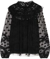 Needle & Thread Shadow Embellished Tulle Blouse - Black