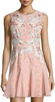 BCBGMAXAZRIA Sequined Lace Sheath Dress, Shadow Blush