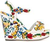 Dolce & Gabbana Majolica print wedge sandals