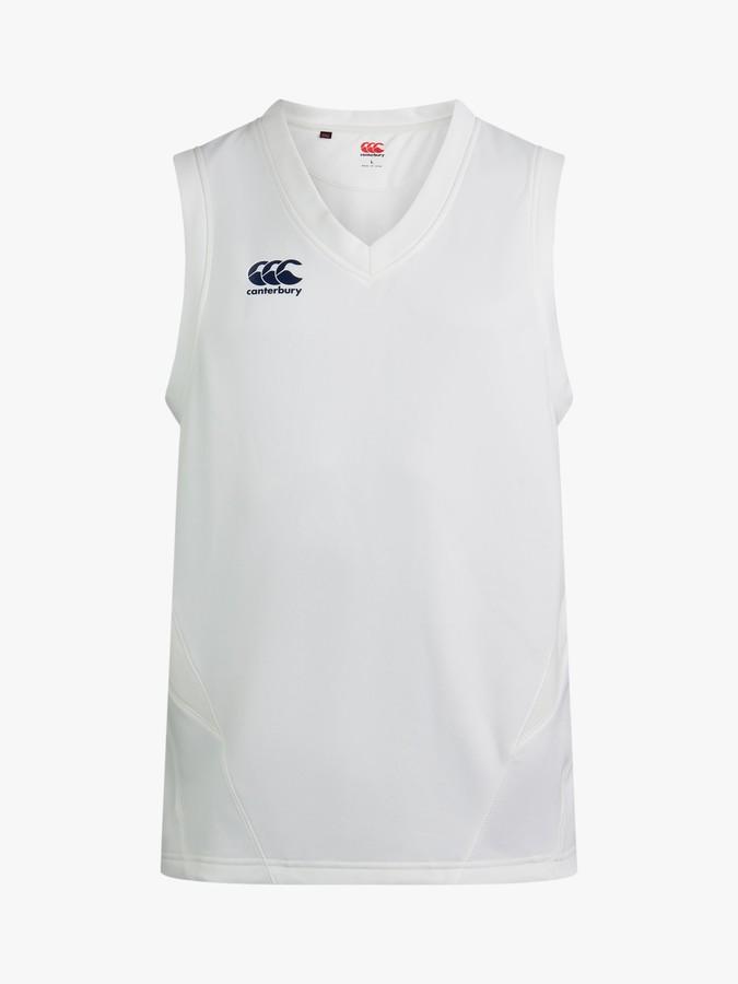 Canterbury of New Zealand Boys' Cricket V-Neck Overshirt, White
