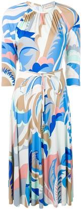 Emilio Pucci Acapulco Print Gathered Neck Dress