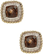 Lagos Sterling Silver Prism Cushion-Cut Smokey Quartz & Diamond Stud Earrings - 0.38 ctw