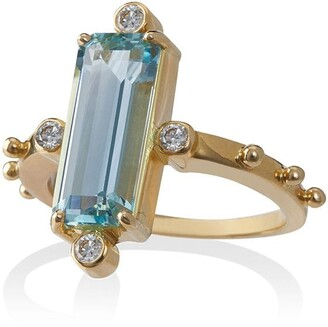 Jessie Western 18k Gold Ring With Aquamarine And Diamond