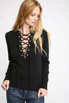 Line & Dot Lace Up Sweater