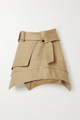 Alexander Wang Belted Cotton-blend Gabardine Mini Skirt - Sand