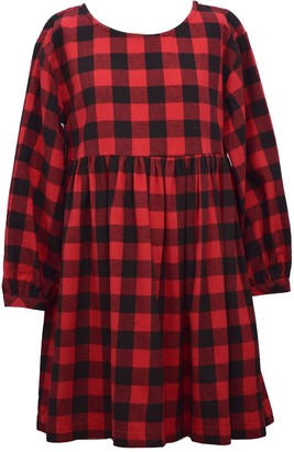 Bonnie Jean Girls 7-16 Long Sleeved Plaid Dress