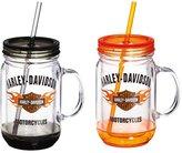Harley-Davidson Bar and Shield Flames Mason Jar Cup, 18 ounces, Set of 2