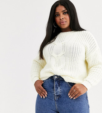 Vero Moda Curve jumper with cable knit detail in cream