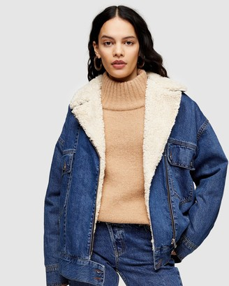 Topshop Oversized Borg Lined Biker Denim Jacket