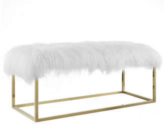 Modway Anticipate White Sheepskin Bench