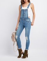 Charlotte Russe Button-Front Destroyed Overalls