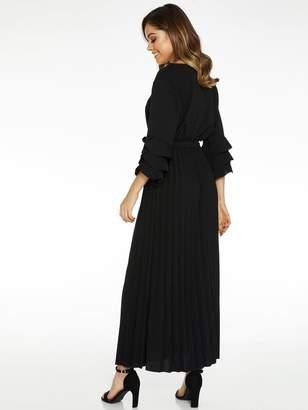 Quiz Scuba Crepe 3 Tiered Sleeve Pleated Skirt Midaxi Dress - Black