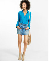 Express slim fit contrast piped portofino shirt