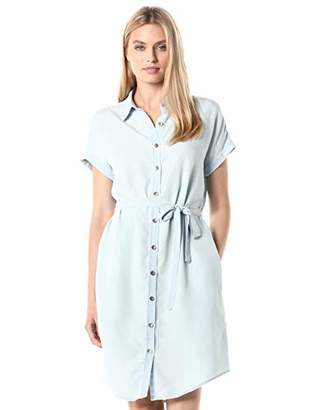 Daily Ritual Tencel Short-Sleeve Shirt Dress Casual,Medium