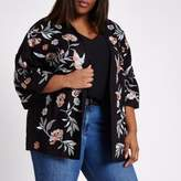 River Island Womens Plus black floral and bird embroidered kimono