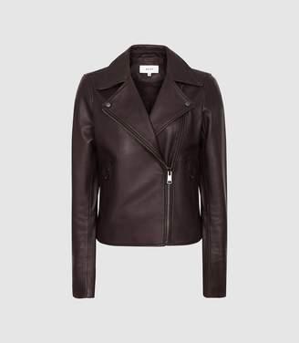 Reiss Geo - Leather Biker Jacket in Oxblood