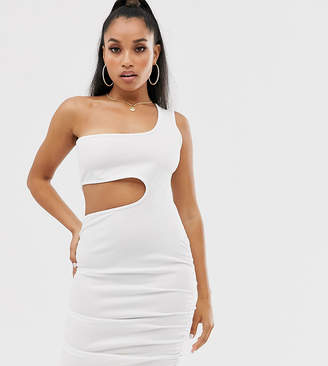 Fashionkilla Petite going out one shoulder cutout ruched mini dress in white