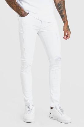 boohoo Mens White Super Skinny Distressed Jeans, White