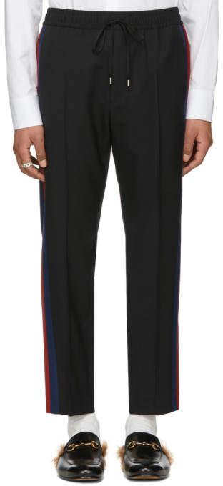 Gucci Black Stripe Cropped Trousers