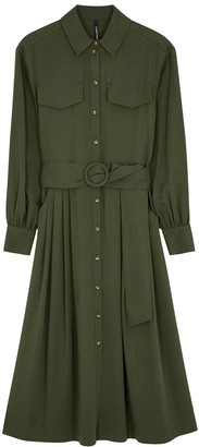 Army green belted shirt dress